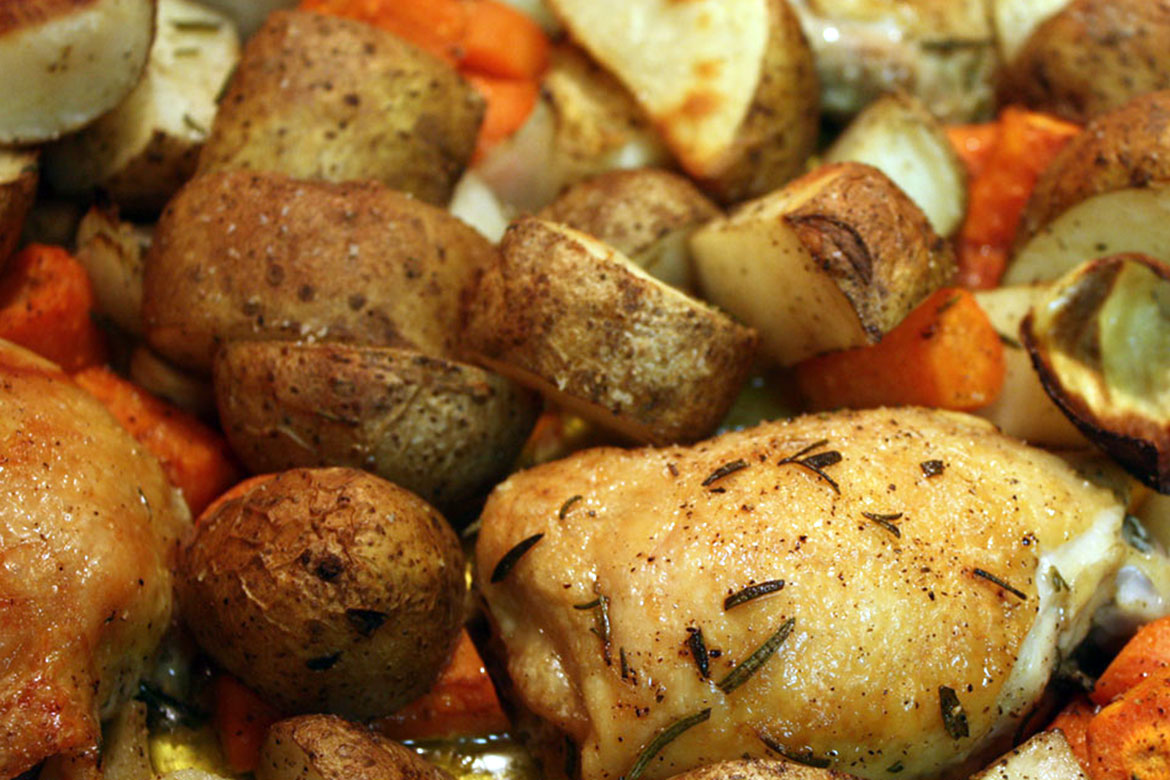 One Pan Roasted Chicken & Vegetables - This dish may be simple but it's good enough to serve to dinner guests.