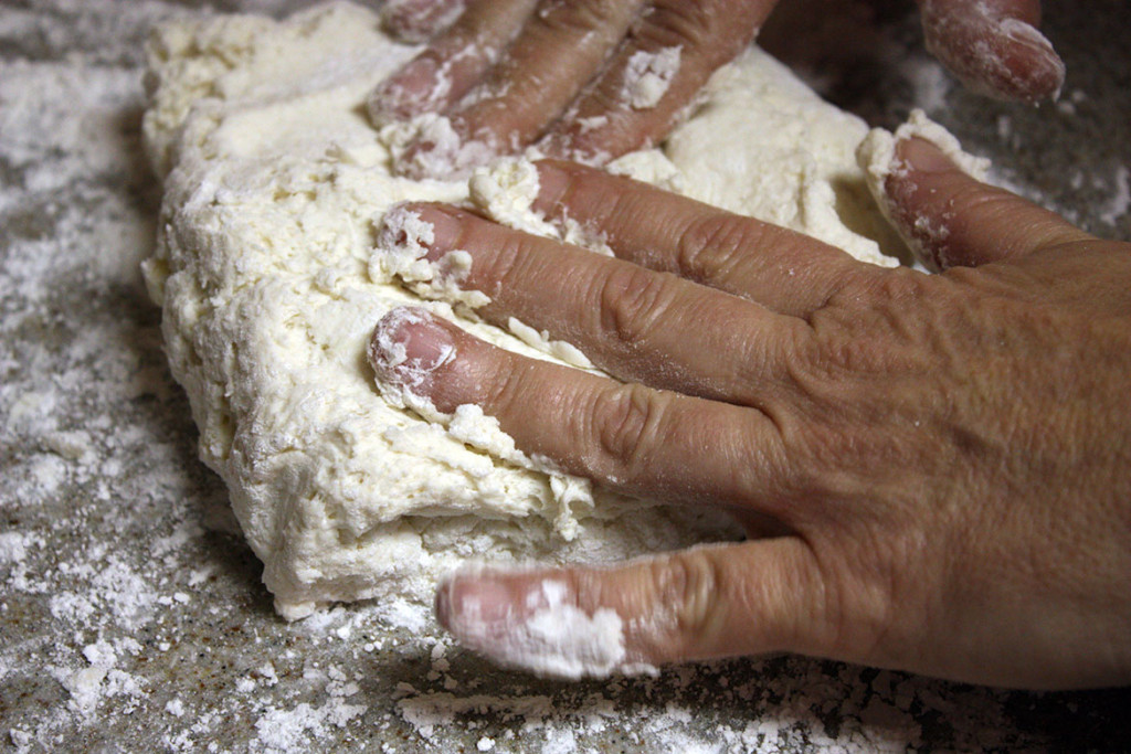folding the southern buttermilk biscuit dough