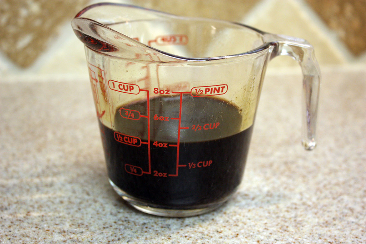 Chocolate Tiramisu - espresso in glass measuring cup