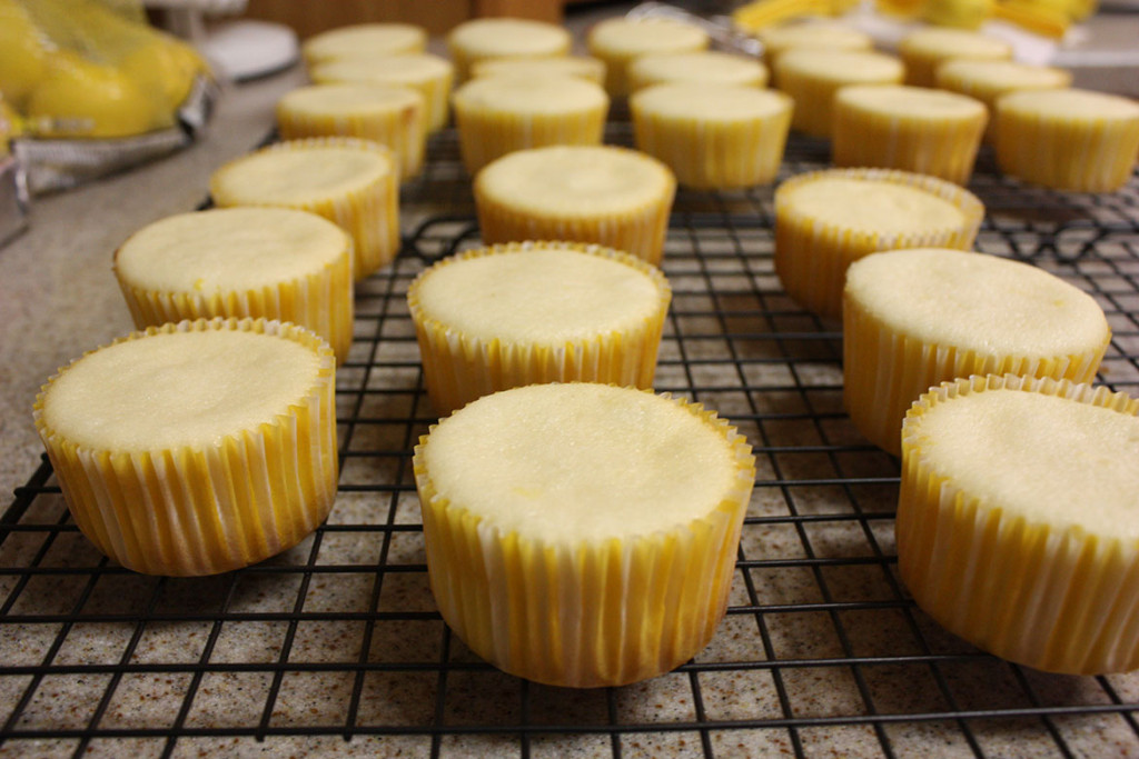 baked lemon cupcakes cooling on a wire rack
