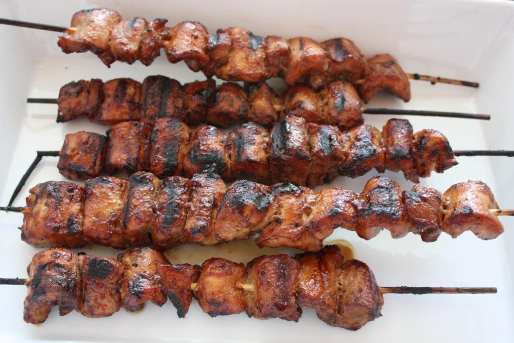Filipino Pork Kebabs in a white baking dish