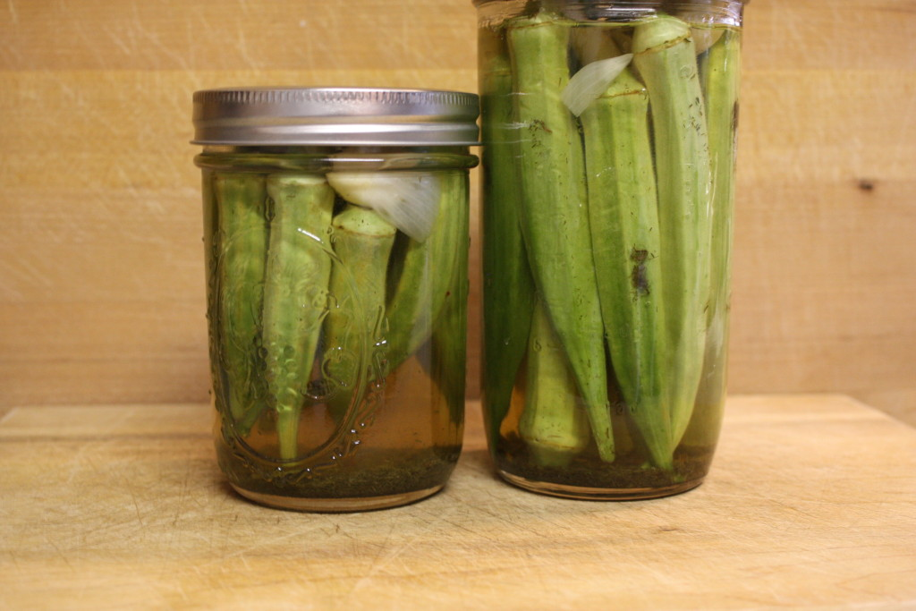 pickled okra in mason jars