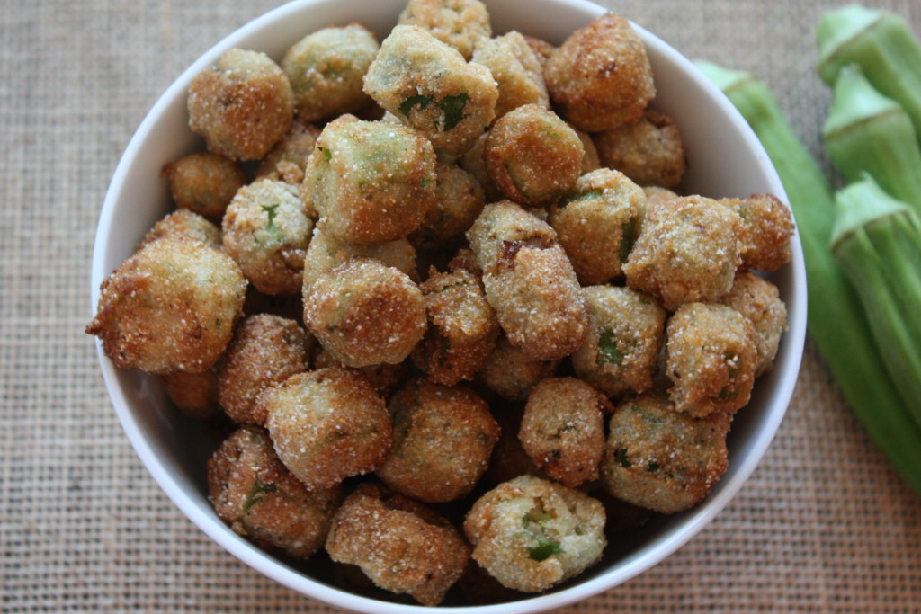 buttermilk fried okra in a white bowl