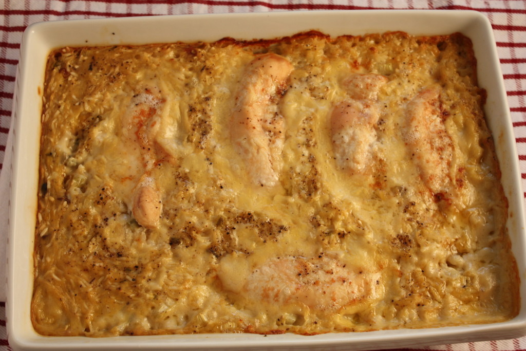 One Pan Baked Chicken and Rice - Easy, creamy, comfort food at it's best!