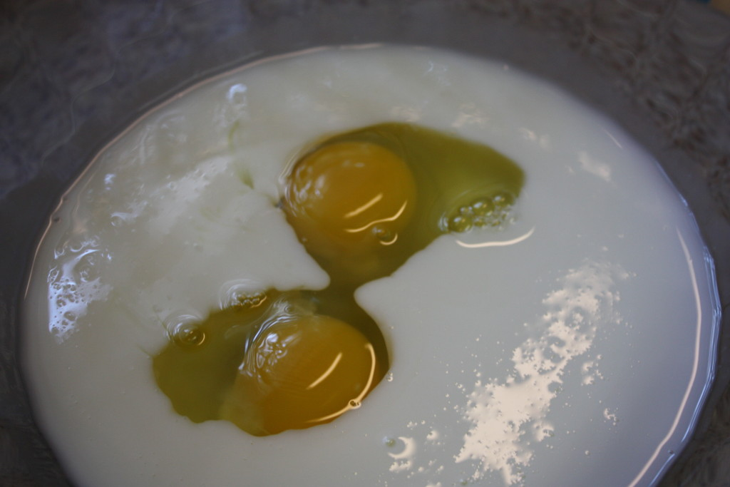 buttermilk and eggs in a bowl