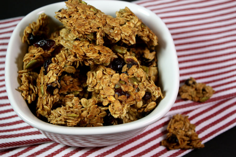 Large Cluster Granola in a white bowl