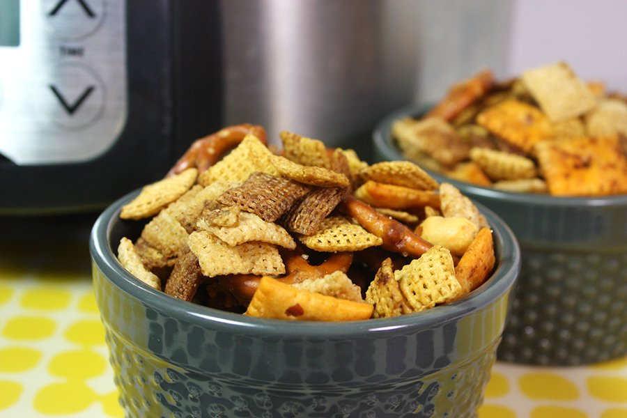 Chex Mix in gray ramekins
