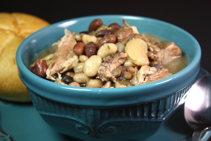 Slow Cooker 15 Bean Soup in a blue bowl