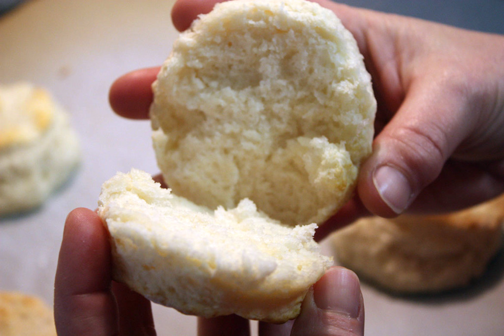 buttermilk biscuit sliced in half