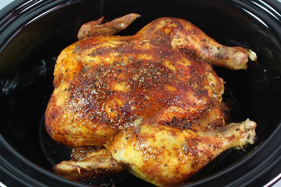 Slow Cooker Rotisserie Chicken in the crock of the slow cooker