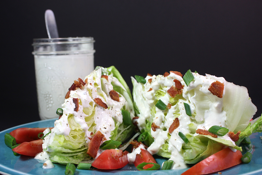 Blue Cheese Wedge Salad on a blue plate