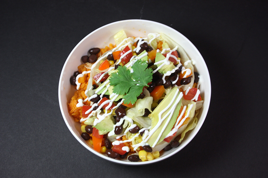 Chicken Burrito Bowls - Mexican rice, spicy chicken and loads of healthy fresh toppings make this burrito bowl Ah-Mazing!