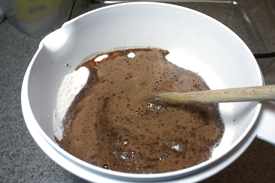 Aunt Ree's Chocolate Cake batter in a white mixing bowl