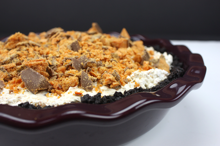 No Bake Butterfinger Pie in purple ceramic pie plate