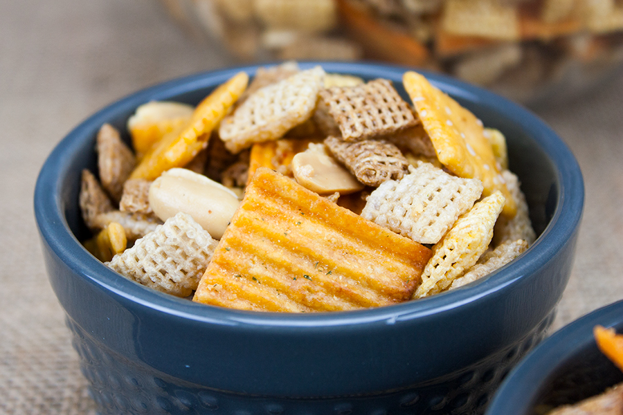 Spicy Cheddar Snack Mix - Spicy, crunchy, cheesy snack mix that's perfect for any occasion!