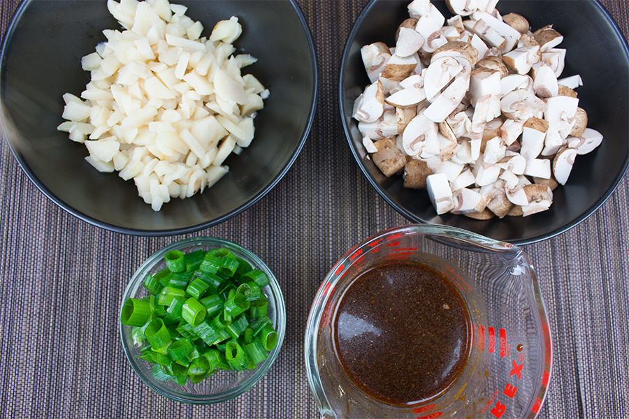 Vegetarian Lettuce Wraps - chopped mushrooms, water chestnuts, green onions, and sauce mixture