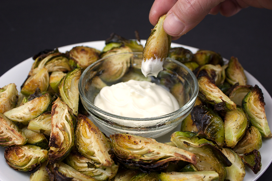 Roasted Brussels Sprouts with Aioli Dipping Sauce - Crispy outside, tender inside pairs perfectly with the aioli!