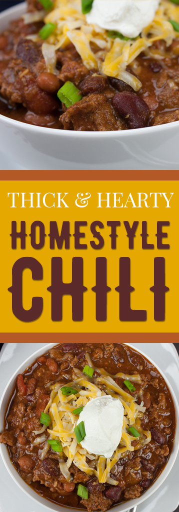 Thick & Hearty Homestyle Chili - Warm up this winter with a big bowl of the BEST thick, rich and hearty chili! #gamedayfood #party #comfortfood