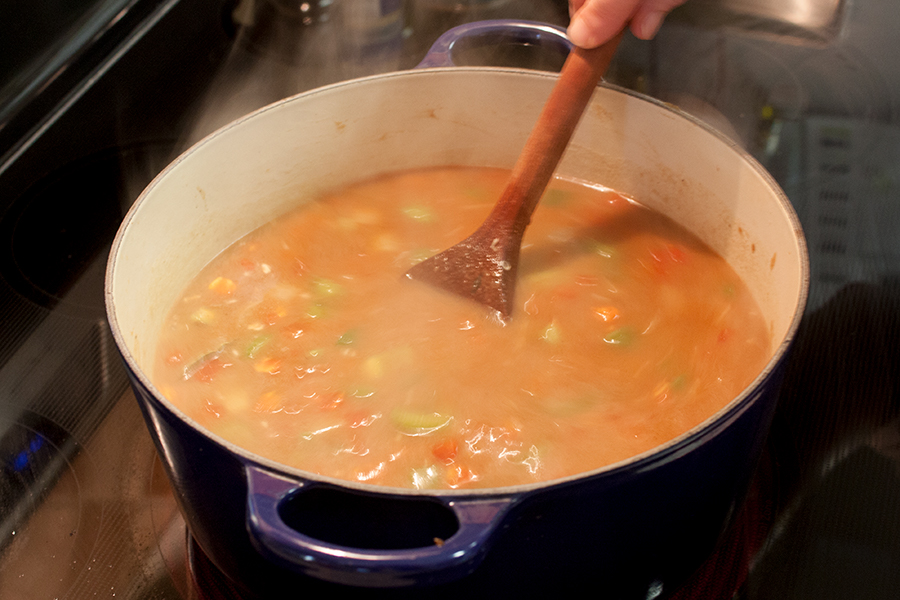 Shrimp and Sausage Gumbo - stock and sausage added to the vegetables and roux