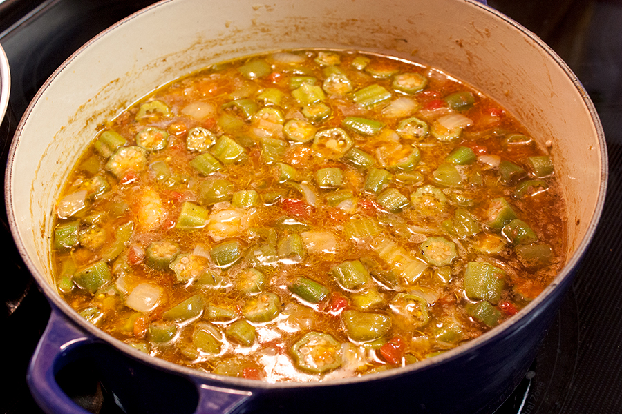 Shrimp and Sausage Gumbo in a blue dutch oven