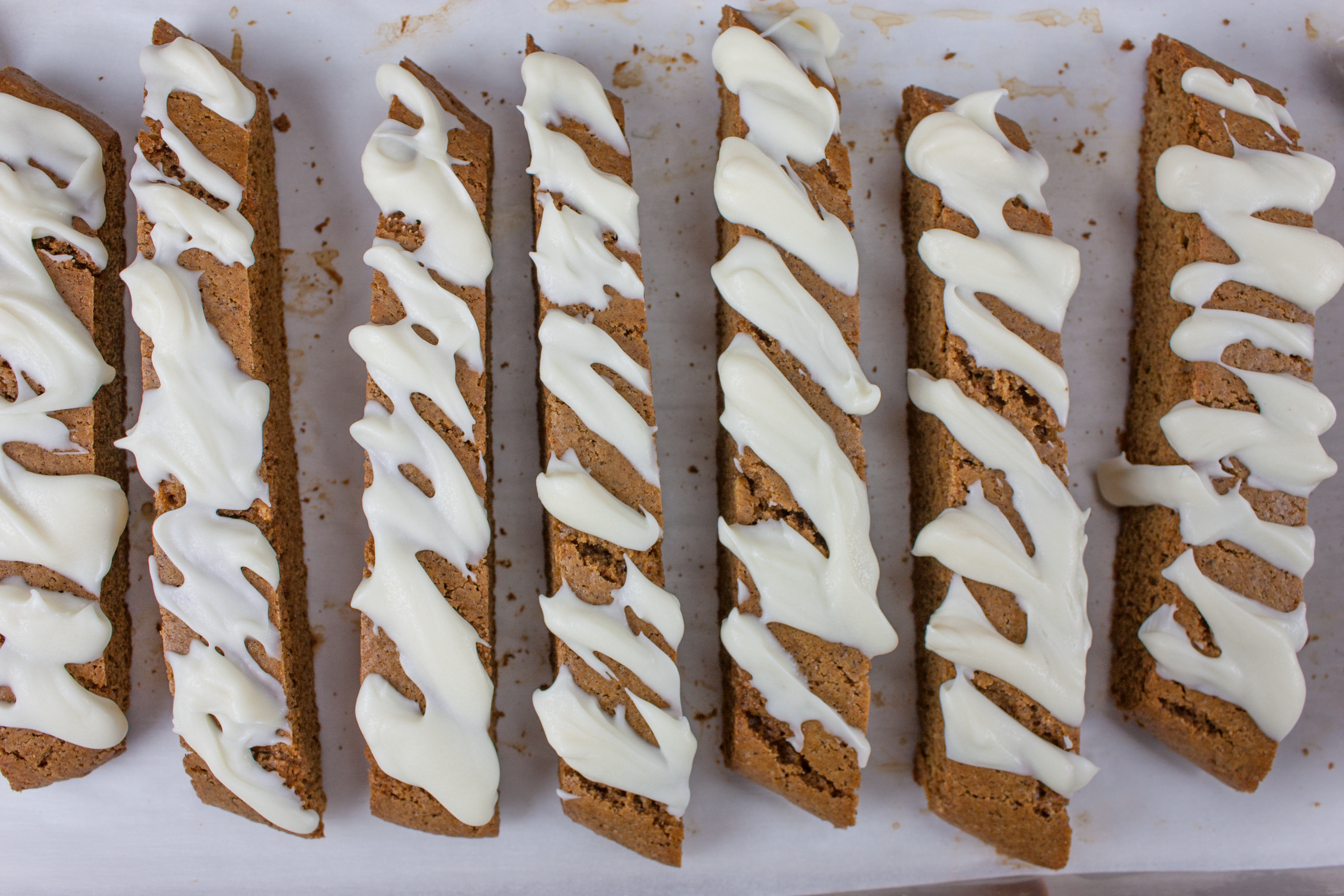 Gingerbread Biscotti topped with icing