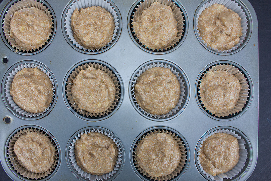 Healthy Whole Wheat Banana Muffins - batter in muffin pan