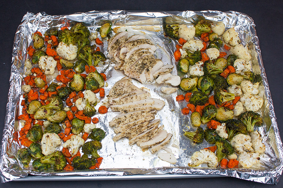 Sheet Pan Roasted Chicken and Vegetables - cooked on a foil lined baking sheet