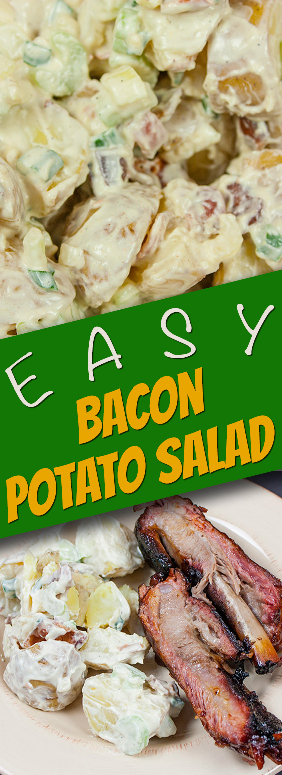 Easy Bacon Potato Salad - A great side dish for your bbq's and picnics. Creamy, tangy and loaded with bacon!