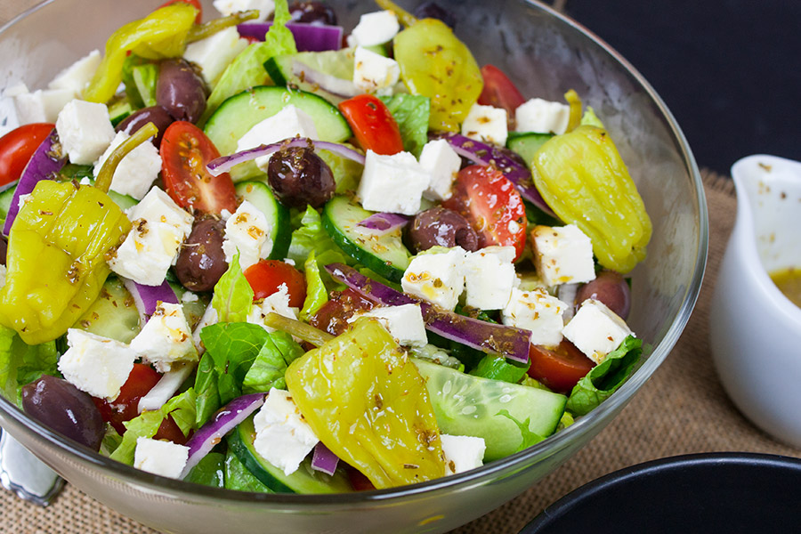 Homemade Greek Salad in glass bowl