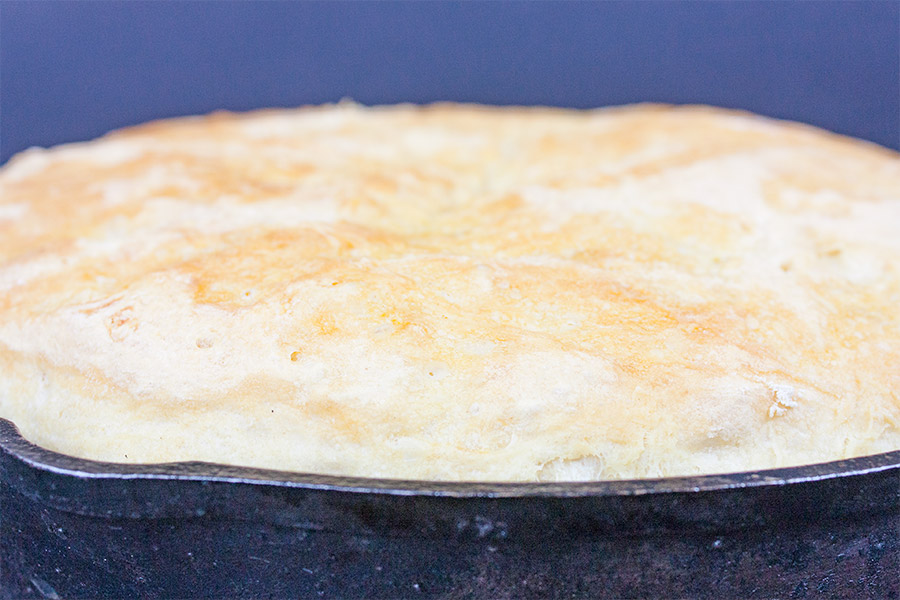 No Knead Skillet Bread baked in a cast iron skillet