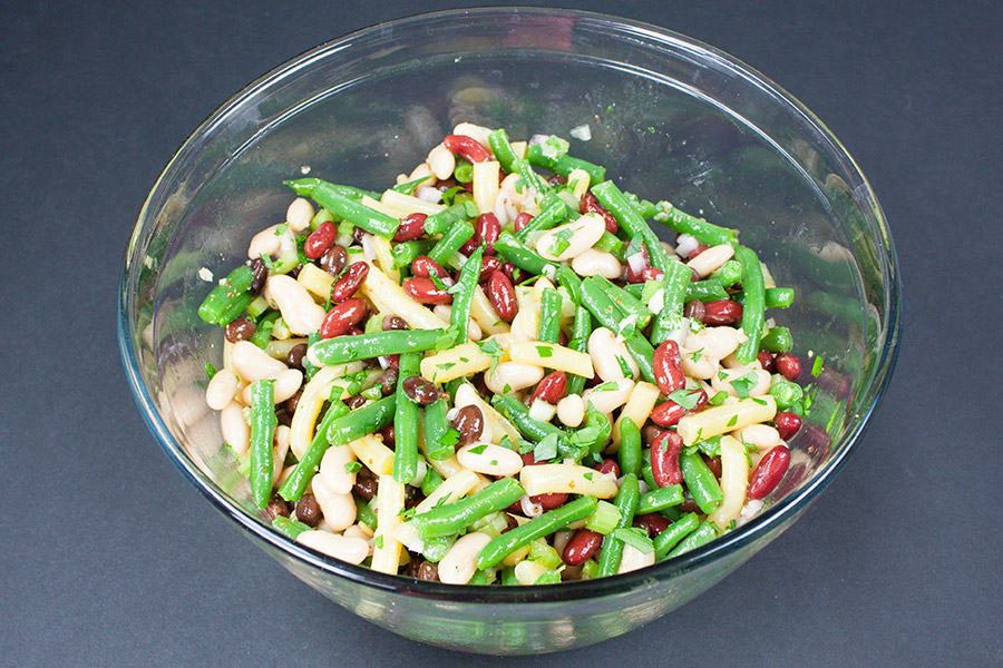 Five Bean Salad mixed in a mixing bowl