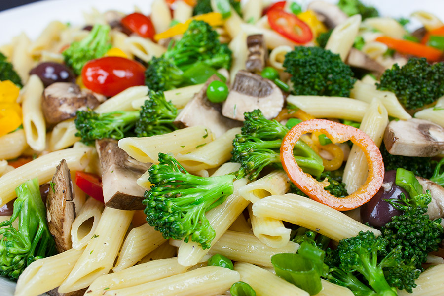 closeup of the Lemon Veggie Pasta Salad