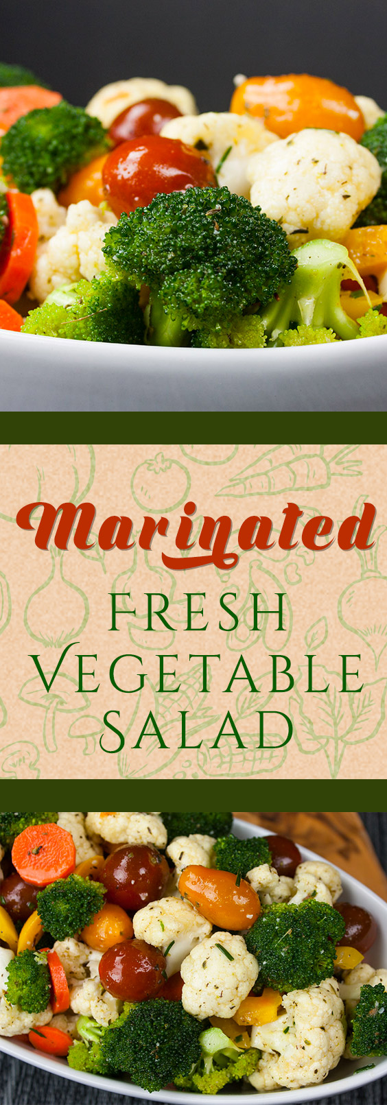 Tasty Healthy Marinated Fresh Vegetable Salad - Quick and easy to make-ahead! Healthy, crunchy, fresh vegetables tossed in a vinaigrette make this salad recipe ideal for your 4th of July gathering.