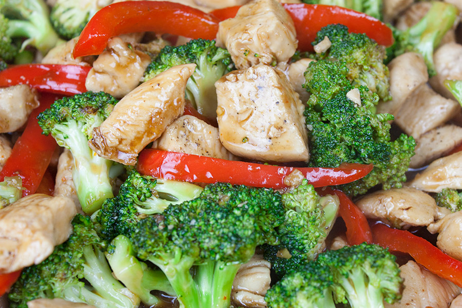 close up of chicken broccoli stir fry
