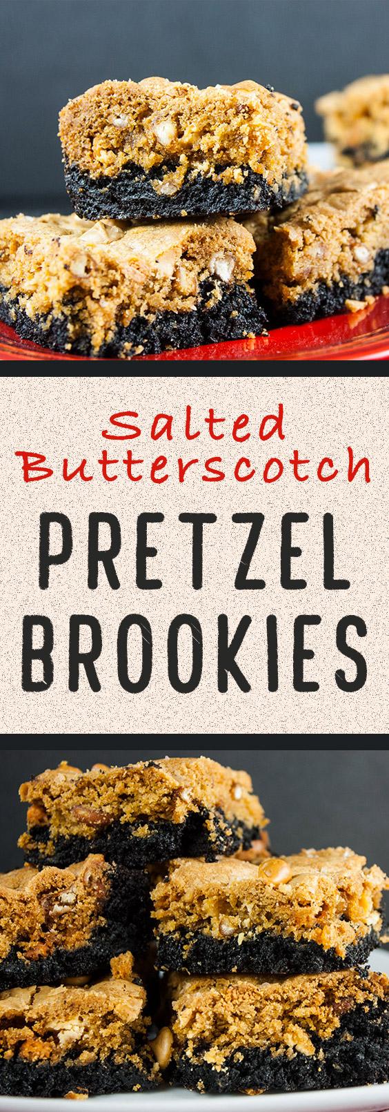 Salted Butterscotch Pretzel Brookies - Dark chocolate brownie topped with butterscotch pretzel cookie. The best of both worlds all in one bar!