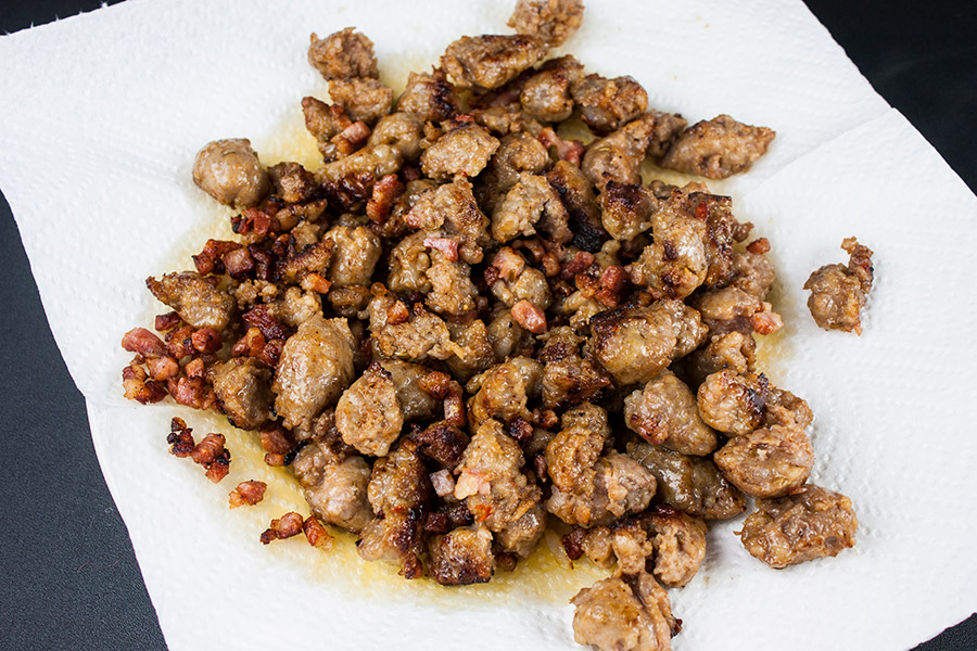 browned Italian sausage and pancetta