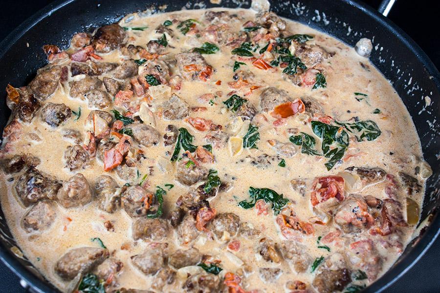 pasta sauce in skillet