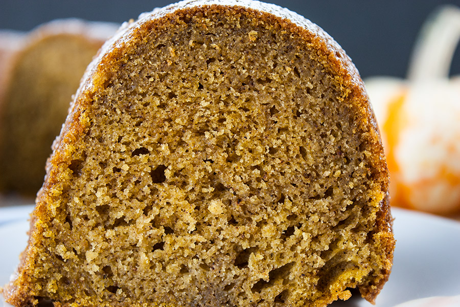 serving slice of Pumpkin Spice Bundt Cake