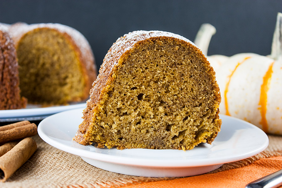 Pumpkin Spice Bundt Cake slice on a white dessert plate