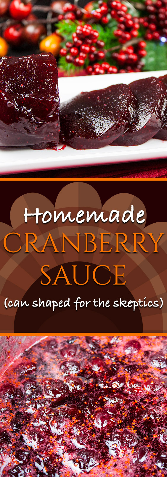 Homemade Cranberry Sauce - Smooth, creamy, jellied homemade cranberry sauce. Super easy recipe with only 4 ingredients!