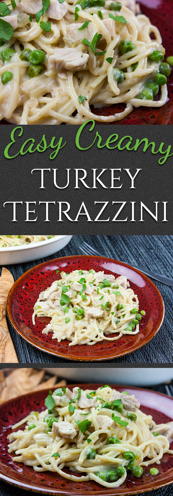 Easy Creamy Turkey Tetrazzini - From scratch, no canned soup! Use those turkey leftovers from Thanksgiving and Christmas in this easy, delicious, creamy noodle dish.