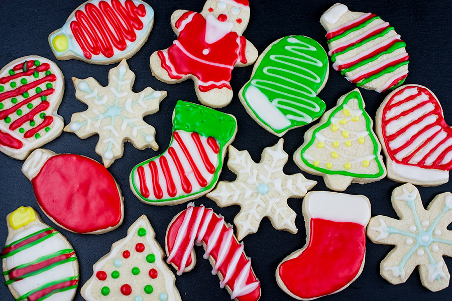 decorated cut-out sugar cookies on slate
