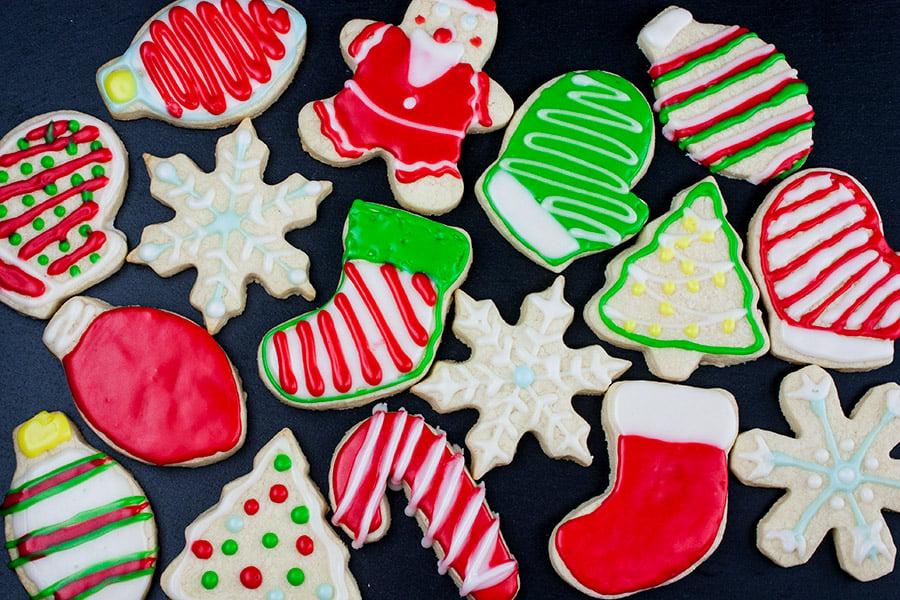 decorated cookies on slate