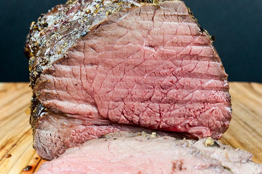 close up of medium rare roast