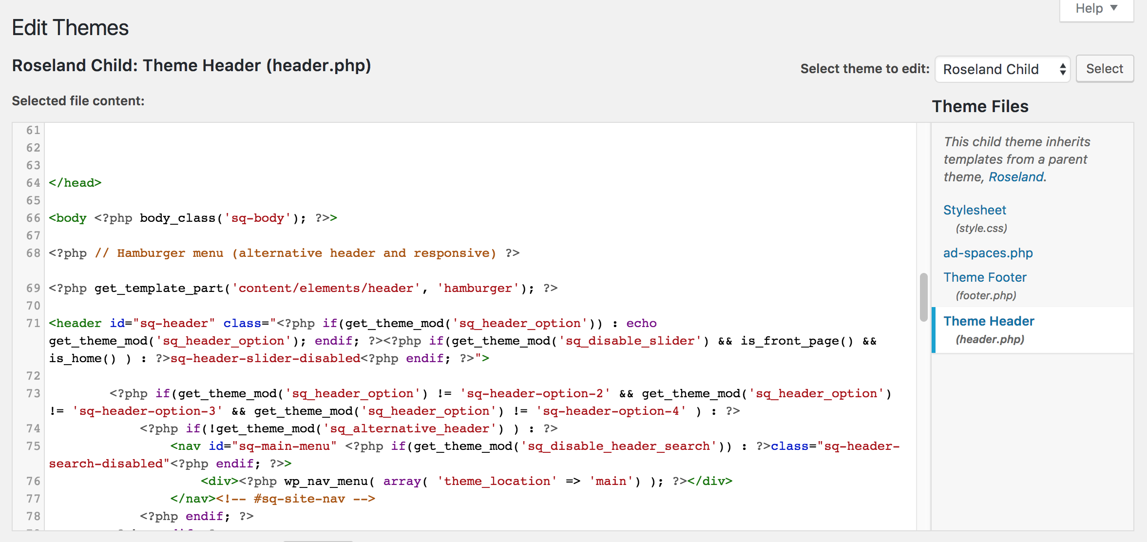 A picture of the header.php codebase
