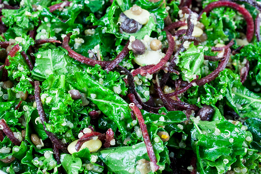 Kale and Bean Salad tossed with dressing
