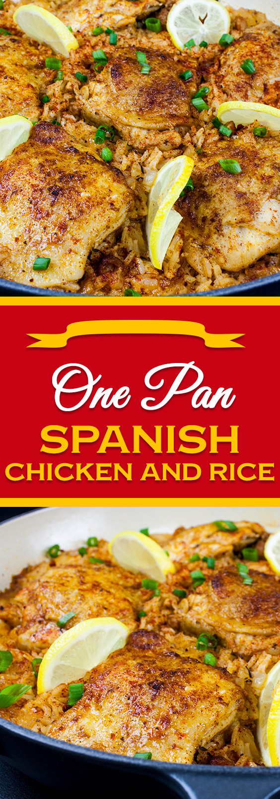 One Pan Spanish Chicken and Rice - Crispy zesty chicken nestled in bold mouthwatering, flavorful rice. A fabulous one-pan-meal.#dinner