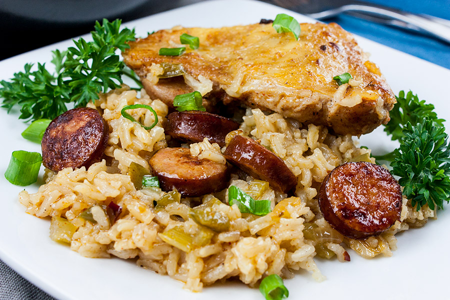 One Pan Chicken and Dirty Rice - a serving on a white plate