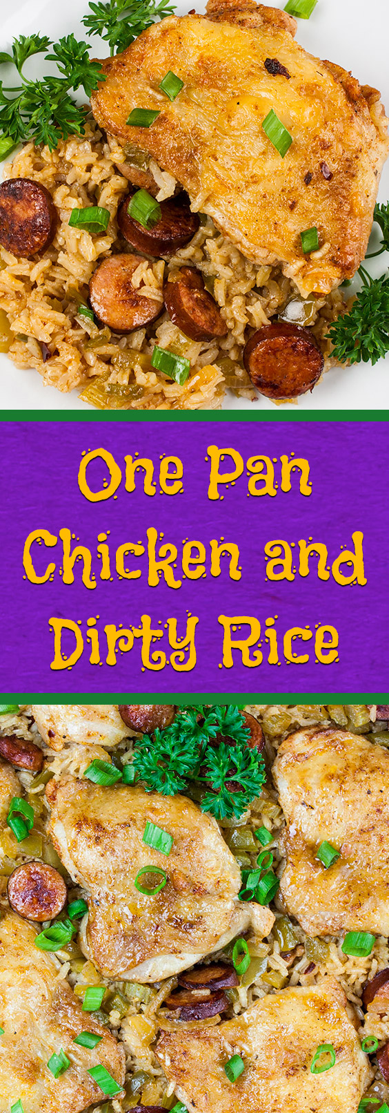 One Pan Chicken and Dirty Rice - Add a little Cajun spice to your dinner tonight! Spicy, creamy, delicious and ready in 30 minutes! #dinner #easy #recipe