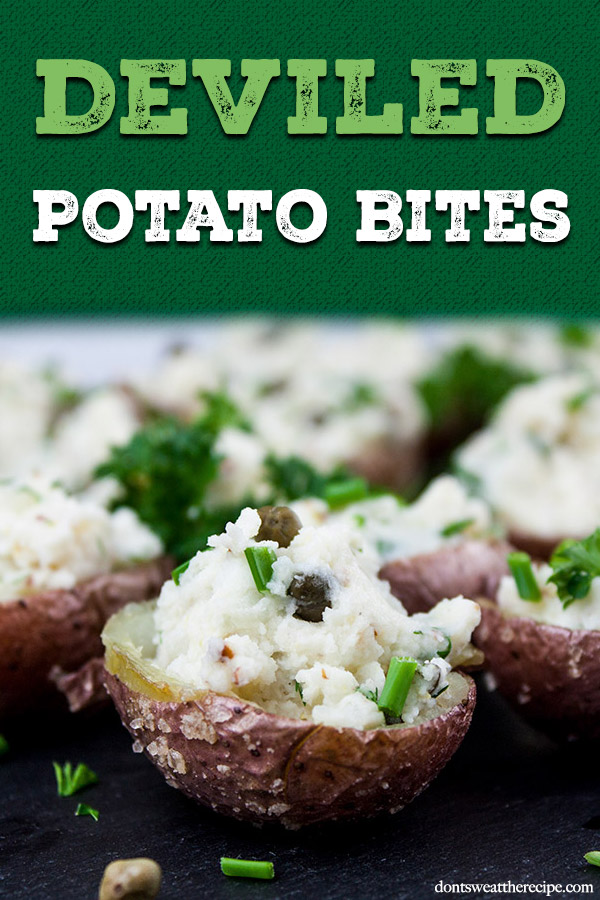 Deviled Potato Bites - Potato salad in bite-size form. Great side or appetizer for any party or barbecue! Easy to prepare and even better they can be made ahead. #appetizer #summer #recipe #party